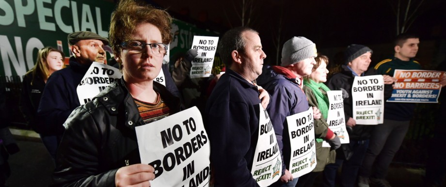 Sinn Fein Take Part In Anti-Brexit Protest In Belfast
