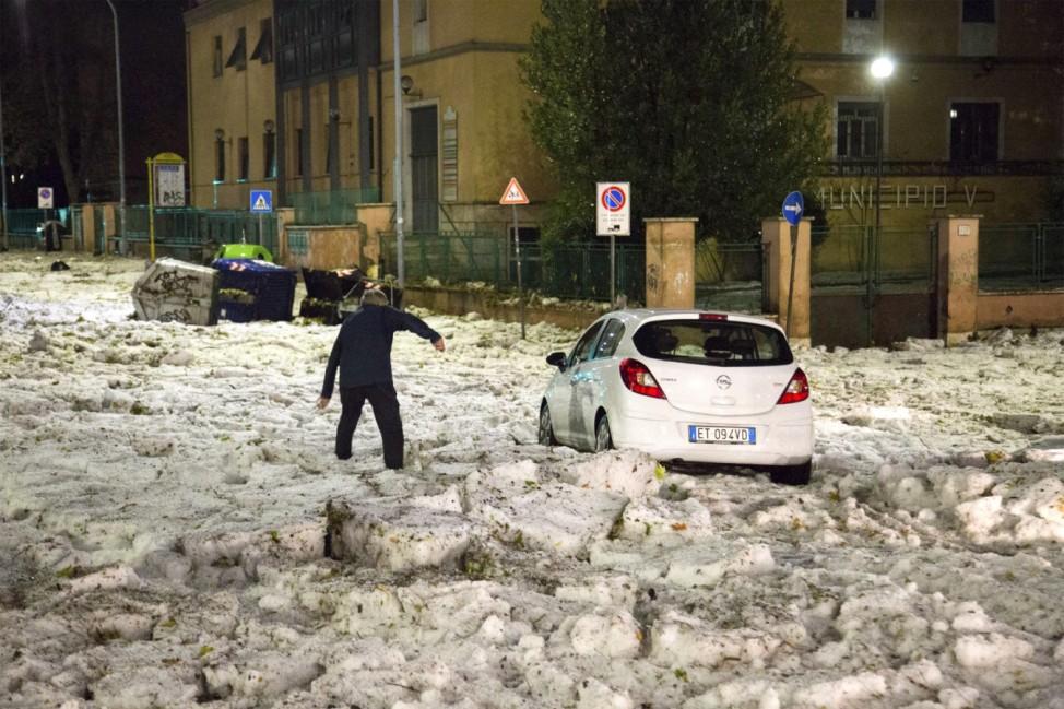 Hagelsturm in  Rom
