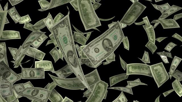 Flying 100 Onehundred dollar bills Fliegende Einhundert Dollar Noten