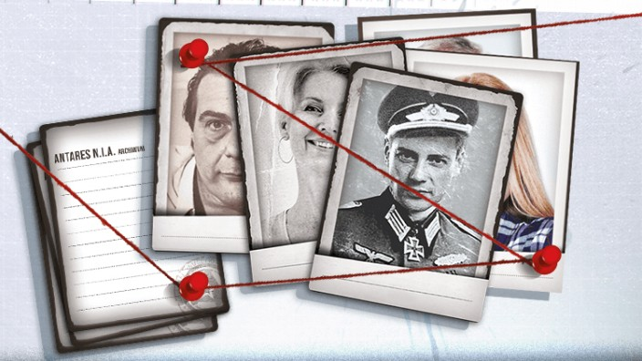 """Spielemesse in Essen: Wie im Krimifilm füllt sich im Brettspiel """"Detective"""" eine Wand mit Verdächtigen und roten Bindfäden, die ihre Beziehungen symbolisieren."""