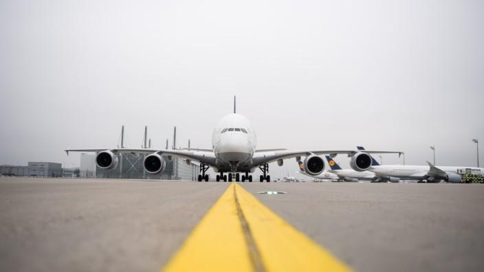 Erster Lufthansa Airbus A380 am Flughafen München, 2018