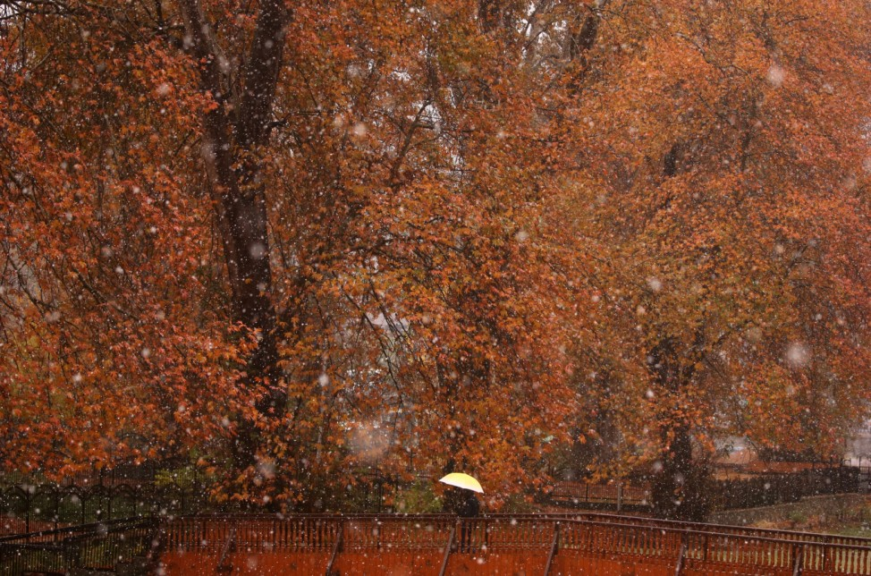 A man carrying an umbrella crosses a footbridge over a canal during the season's first snowfall in Srinagar
