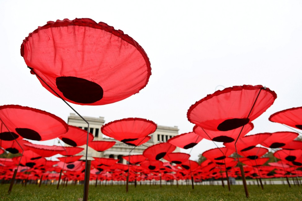 Poppy installation at Koenigsplatz in Munich