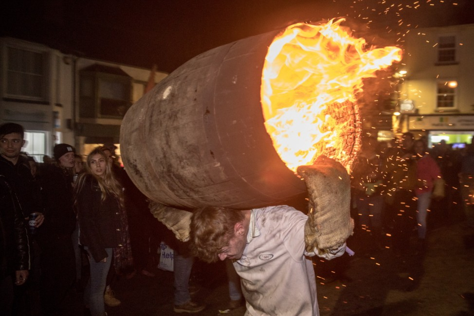 Traditional Burning Of The Tar Barrels Takes Place In Devon Village