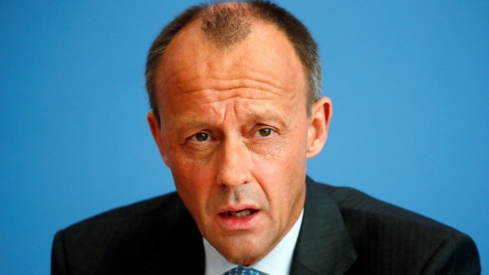 FILE PHOTO: German conservative Friedrich Merz from CDU holds a news conference in Berlin