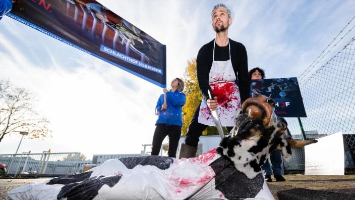 Demonstration vor Schlachthof