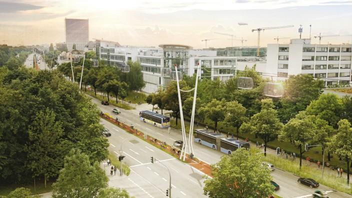 Unterföhring: So stellen sich die Planer eine Seilbahn am Frankfurter Ring in München vor. Simulation: Bayerische Hausbau