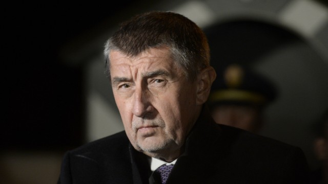 Czech Prime Minister Andrej Babis talks to journalists after the meeting with Czech President Milos