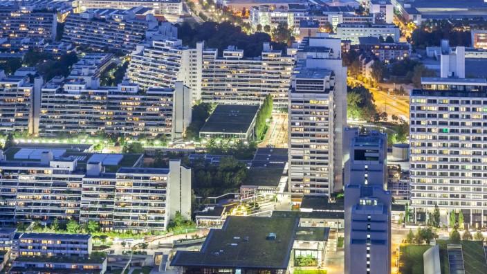 Germany Bavaria Munich cityscape at night drone photography PUBLICATIONxINxGERxSUIxAUTxHUNxONLY