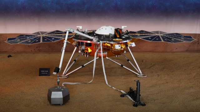 A life-size model of NASA's Insight spacecraft at JPL