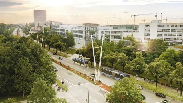 Mobilität: Die Stadt München als bundesweites Vorbild für die Zukunft des öffentlichen Nahverkehrs? Schon im Jahr 2025 könnte es am Frankfurter Ring so aussehen, wie auf dieser Ideenskizze. Simulation: Bayerische Hausbau