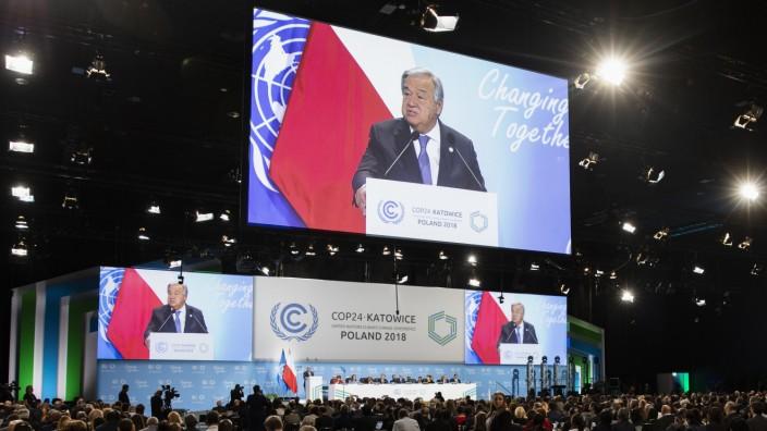 Antonio Guterres spricht auf dem UN-Weltklimagipfel in Kattowitz