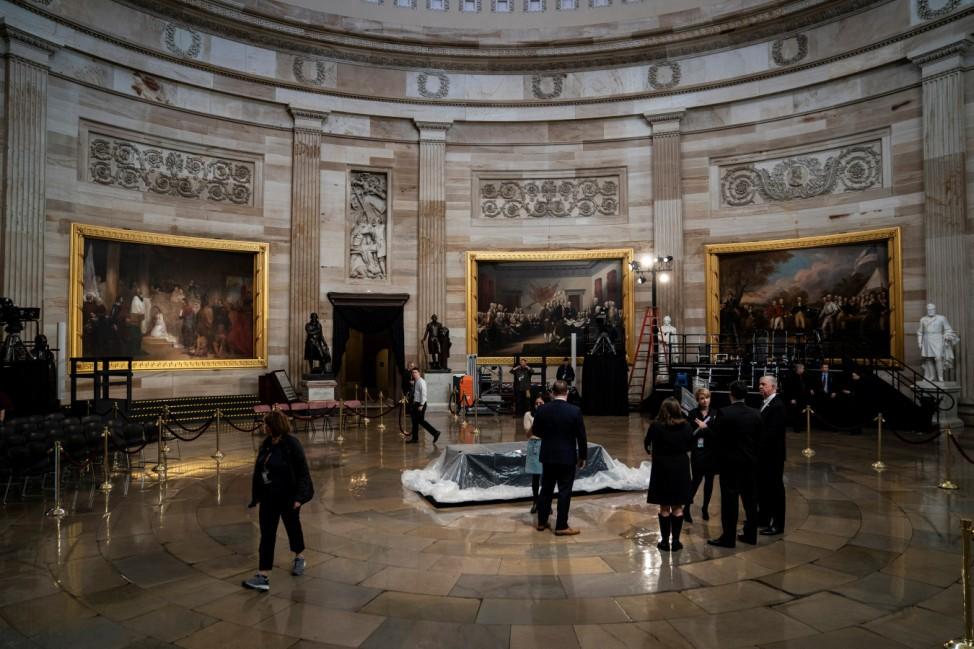 General view of where Bush will lie in state at the U.S. Capitol Rotunda on Capitol Hill in Washington