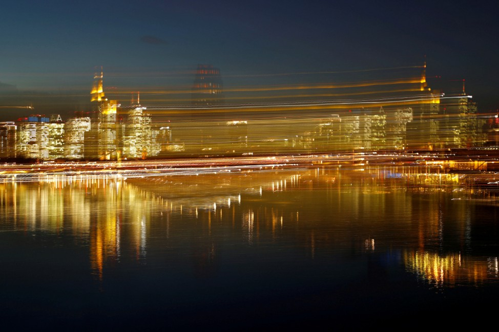 The skyline with its financial district is photographed in the early evening in Frankfurt