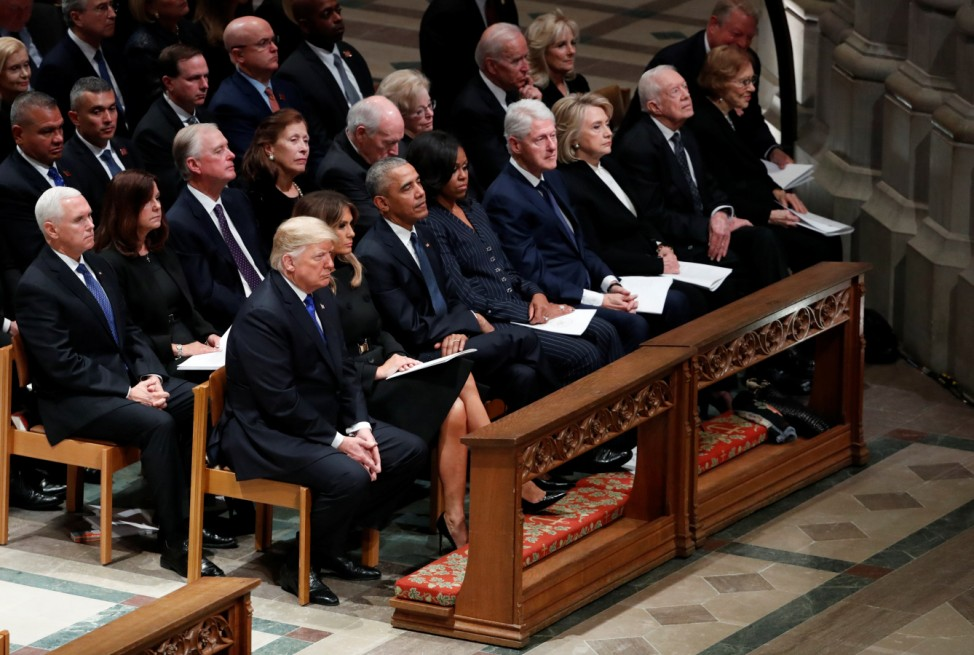 President Trump sits with three other former presidents at state funeral for former U.S. President George H.W. Bush at Washington National Cathedral
