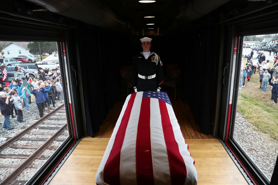 Funeral Train Carries President George H.W. Bush's Casket To Bush Presidential Library In College Station
