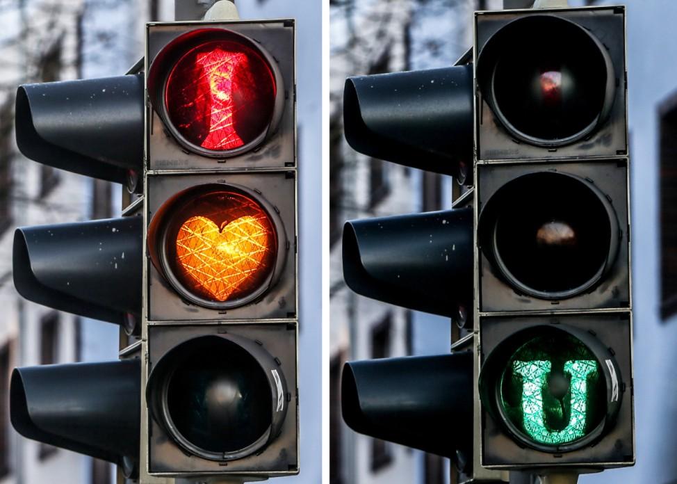 Ampel mit Liebesbotschaft