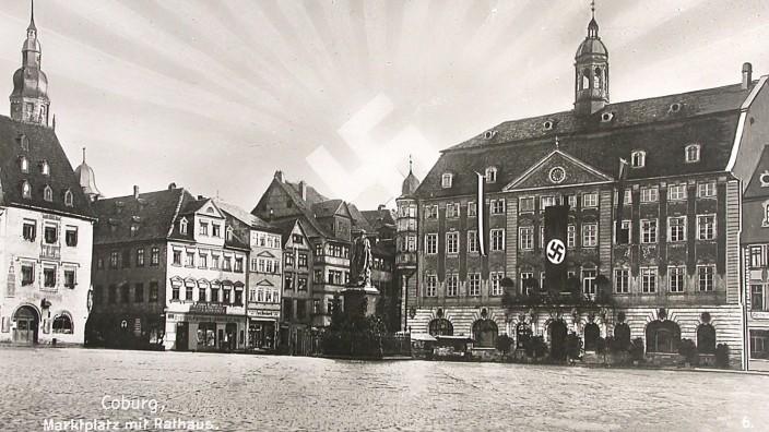 Nationalsozialismus in Bayern: Coburg als Frontstadt des Nationalsozialismus wurde von den Parteigängern Hitlers regelrecht vermarktet. Zahlreiche Ansichtskarten kündeten vom NS-Mythos Coburg.