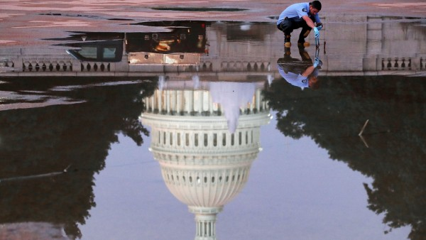 Reflecting Pool Is Drained at US Capitol