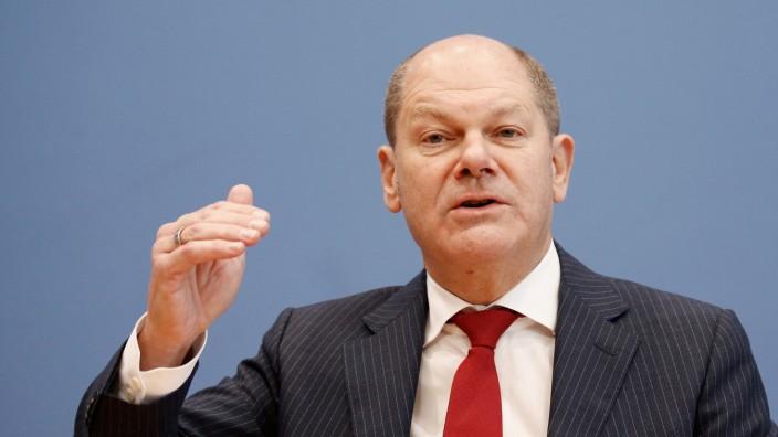 Bundesfinanzminister Olaf Scholz auf einer Pressekonferenz