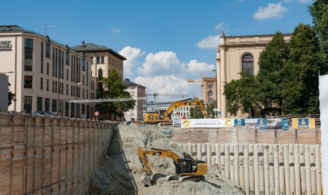 Baustelle am Thomas-Wimmer-Ring in München, 2018