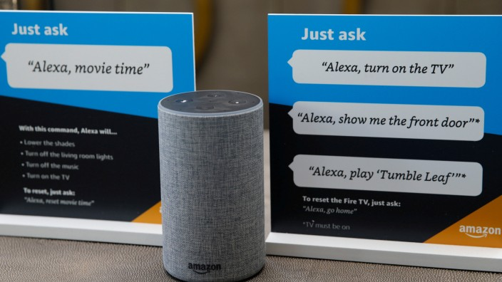 FILE PHOTO: Prompts on how to use Amazon's Alexa personal assistant are seen in an Amazon âÄ~experience centreâÄÖ in Vallejo
