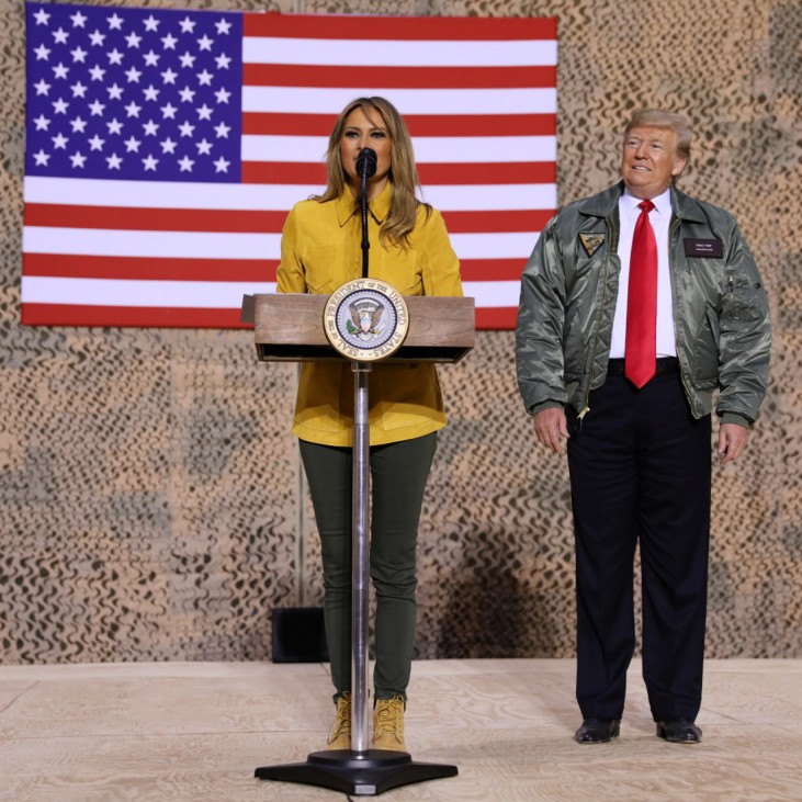 U.S. first lady and President Trump deliver remarks to U.S. troops in an unannounced visit to Al Asad Air Base