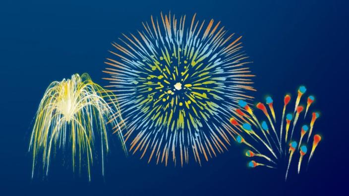 München heute: In der Silvesternacht entfalten sich leuchtende Kunstwerke am Himmel, sie heißen Chrysanthemen, Päonien oder Brokat.