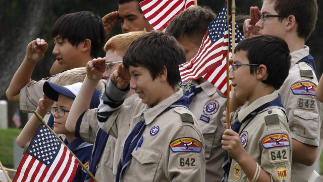 File photo shows Boy Scouts of America troop members attending a Memorial Day weekend commemorative event in Los Angeles