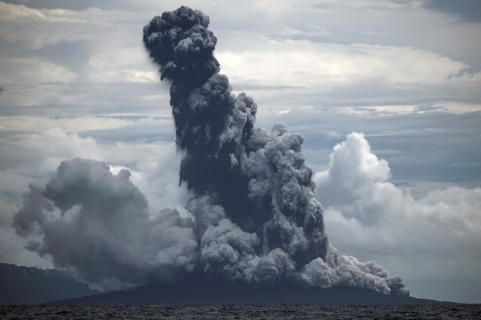 Mount Anak Krakatau volcano spews hot ash during an eruption