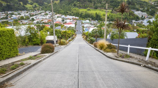 An image of the very steep Baldwin Road in Dunedin New Zealand *** An image of the very steep Baldwi
