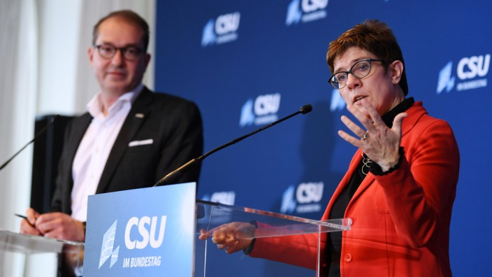 Christian Democratic Union, CDU party leader Annegret Kramp-Karrenbauer and Parliamentary group leader of the CSU Alexander Dobrindt give a statement after a Christian Social Union party meeting at âÄoKloster Seeonâĝ in Seeon