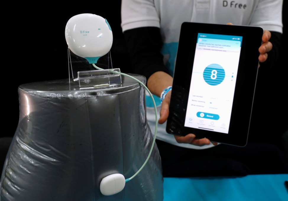 The D Free, an ultrasound device for people who suffer from incontinence, is displayed at 'CES Unveiled' during the 2019 CES in Las Vegas