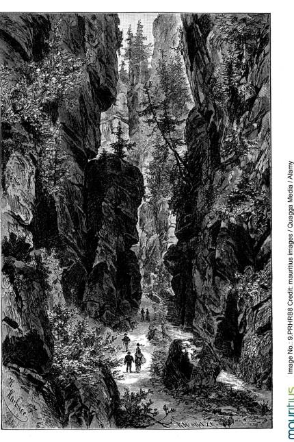 """Wolfsschlucht aus dem """"Freischütz"""": Die Wolfsschluchtszene lebt vom Übermenschlichen und Fantastischen: eine alte Darstellung des Uttewalder Grundes im Elbsteingebirge."""