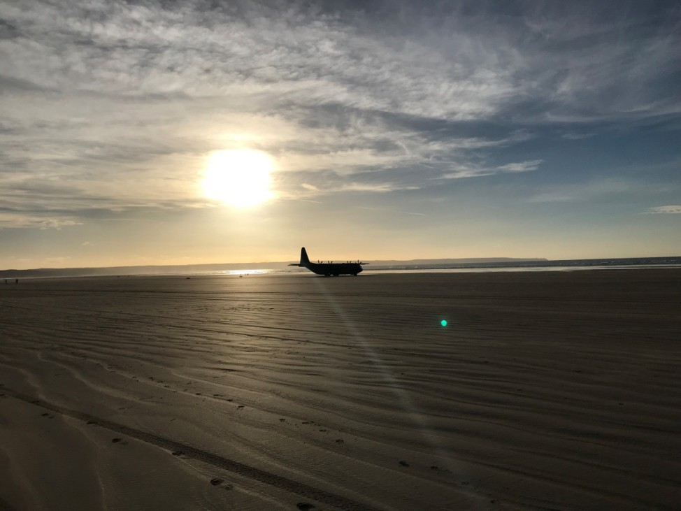 RAF Hercules aircraft is seen at Saunton Sands beach, North Devon