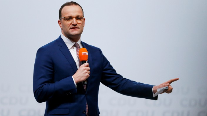 Christian Democratic Union (CDU) candidate for the party chair Jens Spahn delivers a speech as he attends a regional conference in Duesseldorf