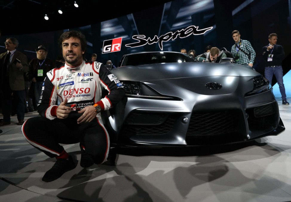 F1 driver Alonso at the North American International Auto Show in Detroit, Michigan
