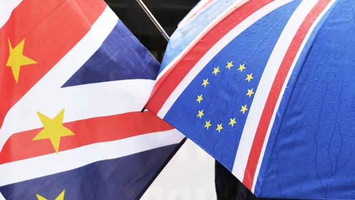 Brexit - Anti-Brexit-Demonstranten stehen vor dem Parlament in London