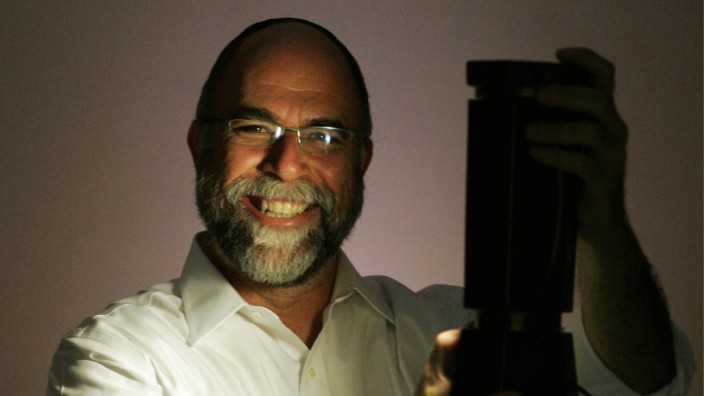 Rabbi Shmuel Veffer, head of Kosher Innovations, with the Kosher Lamp in Toronto, Canada on July 17, 2008.