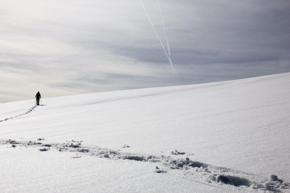 Schneeschuhgeher in Winterlandschaft
