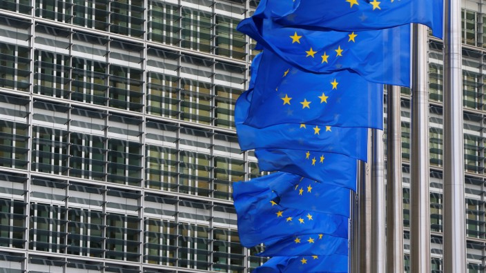 FILE PHOTO: European flags are hung outside the European Commission headquarters in Brussels