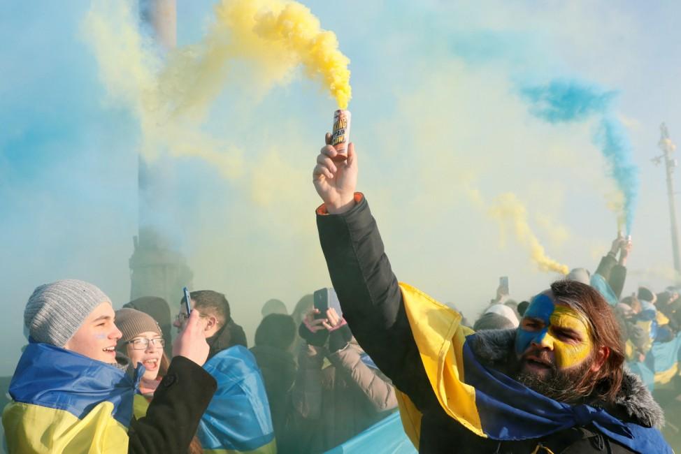 People celebrate Ukraine's Day of Unity in Kiev