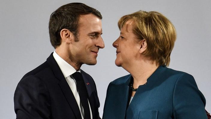 Emmanuel Macron und Angela Merkel in Aachen