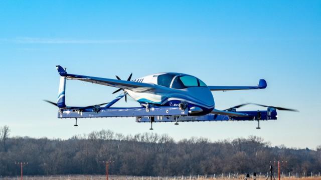 Handout photo of Boeing's Autonomous Passenger Air Vehicle (PAV) prototype during an inaugural test flight, in Manassas