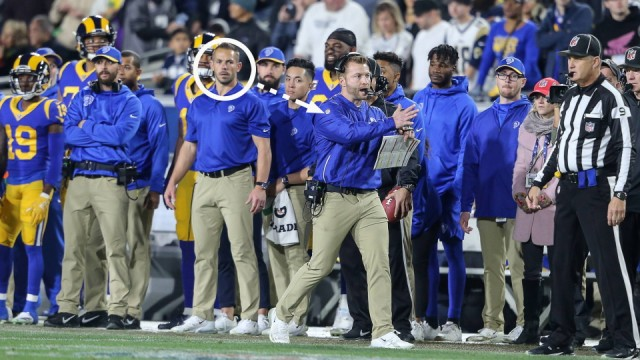 January 12 2019 Los Angeles CA Los Angeles Rams head coach Sean McVay calling timeout Ted Rath