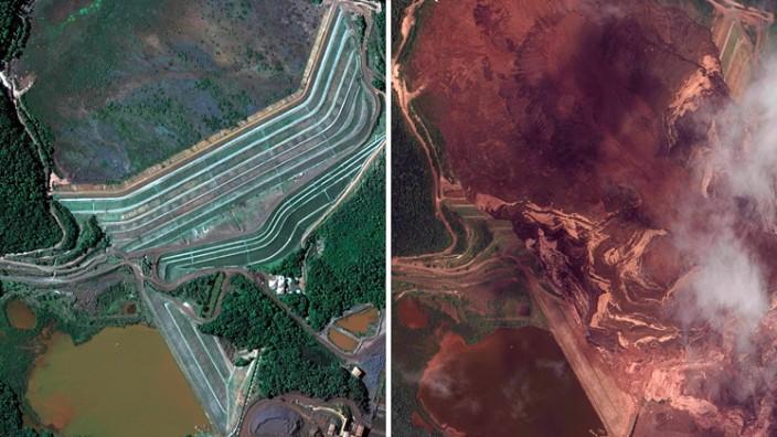 Dammbruch in Brasilien - Der Staudamm vor und nach dem Unfall