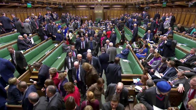 MPs leave to vote on PM Theresa May's Brexit 'plan B' in Parliament, in London