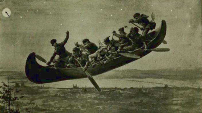 Volkssagen: In einer kanadischen Variante der Geschichte fliegt eine Gruppe von Waldläufern über die Erde.
