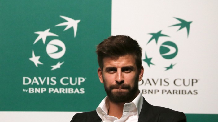 Pique, FC Barcelona player and founder of investment group Kosmos, attends an event to present the revamped Davis Cup in Madrid