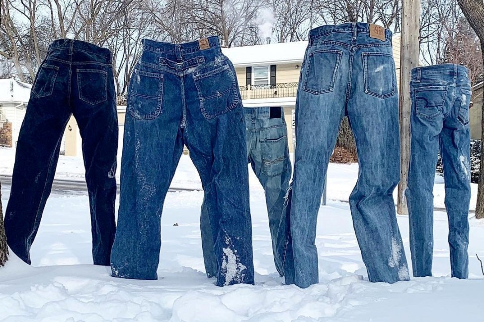 Frozen pants stand alone in Saint Anthony Village, Minnesota